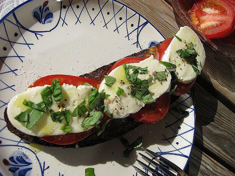 Geröstetes Schwarzbrot mit Mozarella und Tomate