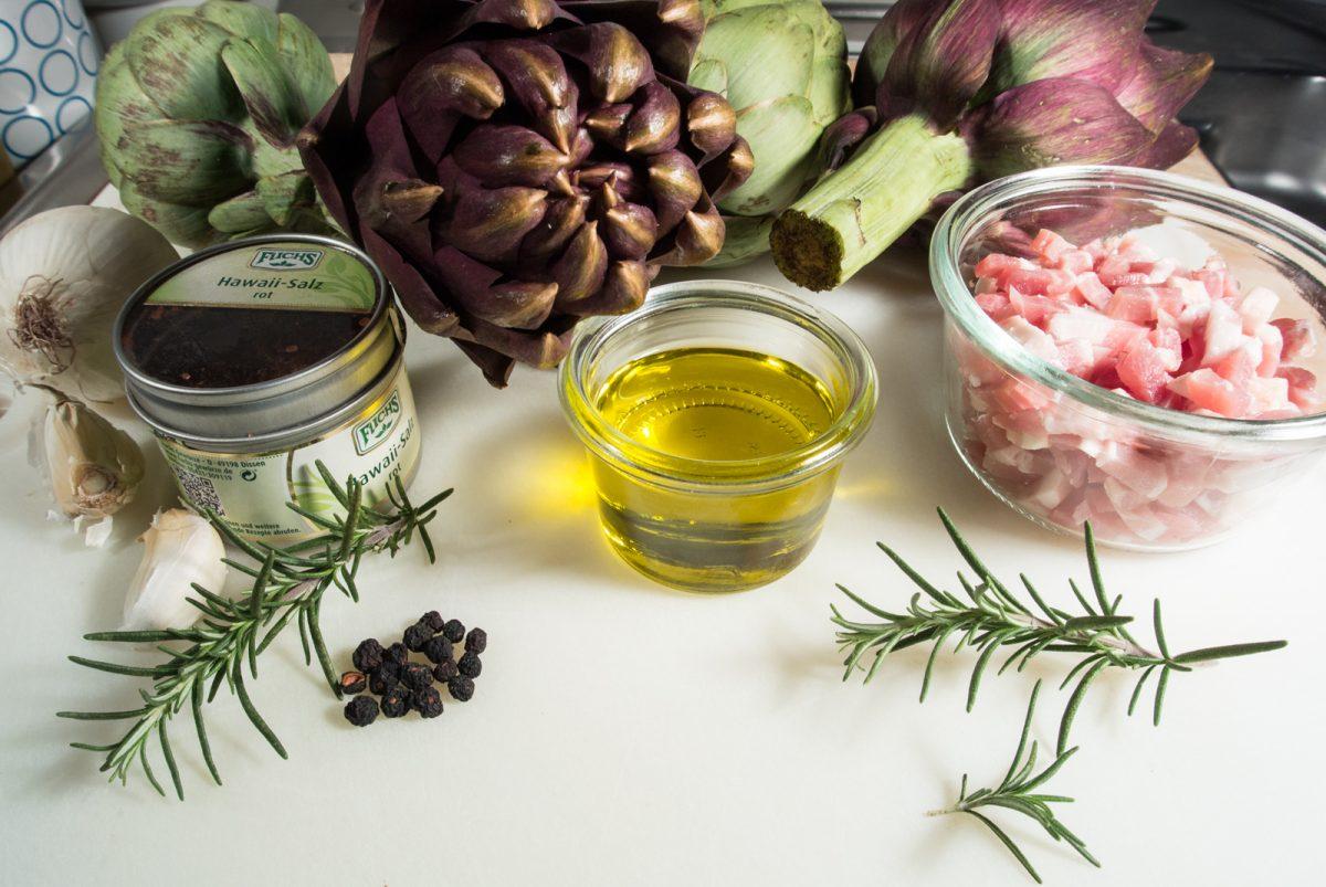Artischocken, Speck und Nudeln die Zutaten