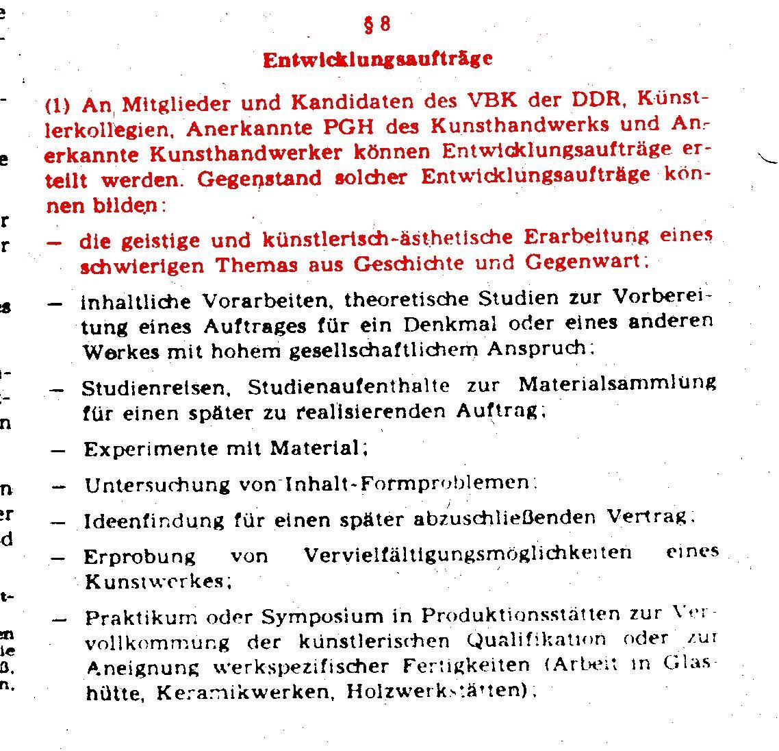 Ausschnitt 3 Honorar Künstler DDR
