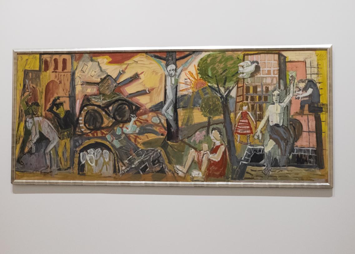 Otto Dix Entwurf Krieg und Frieden expressiv gemalt