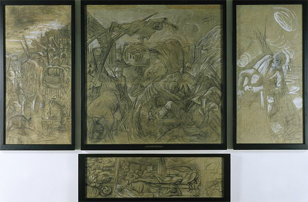 Otto Dix Vorzeichnung auf Karton zum Triptychon Der Krieg 1928-1930