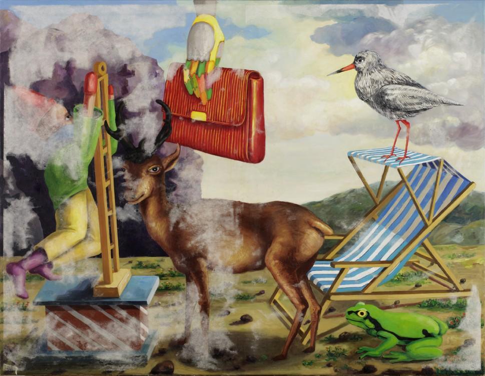 Die Freizeit des Jägers 2014 Öl auf Leinwand 100 x 130 cm (Übermalt)