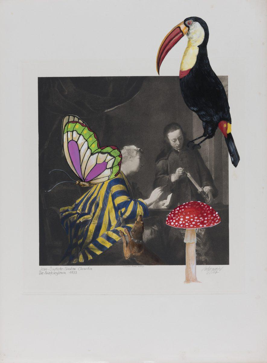 Die Briefsieglerin (Chardin) 2017 Acryl auf Heliogravüre 50,8cm x 37,8cm