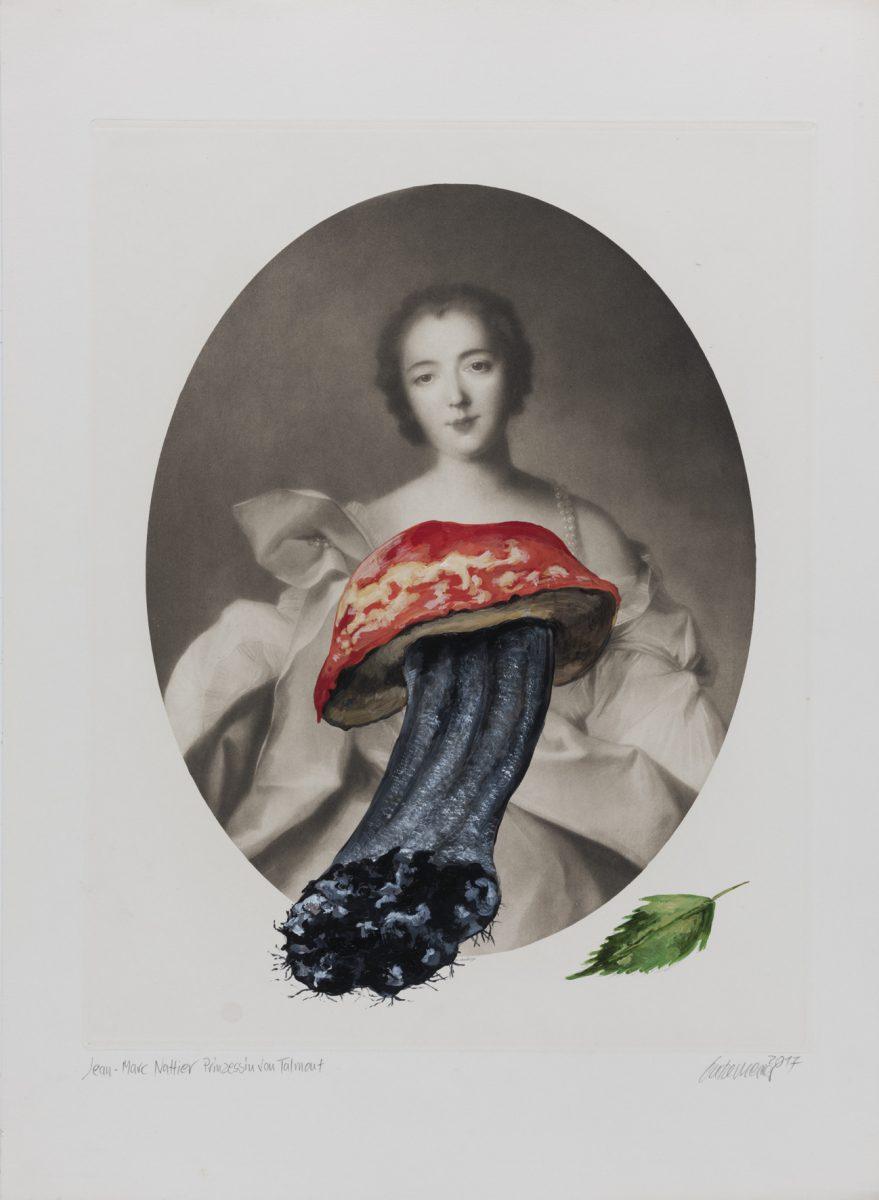 Die Prinzessin (Nattier) 2017 Acryl auf Heliogravüre 50,8cm x 37,8cm