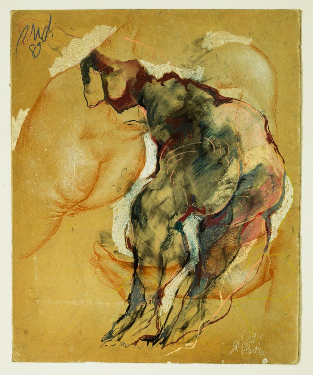 Gatzemeier - p.u.d. Ohne Titel 1989 Rötel und Pastell auf Pappe
