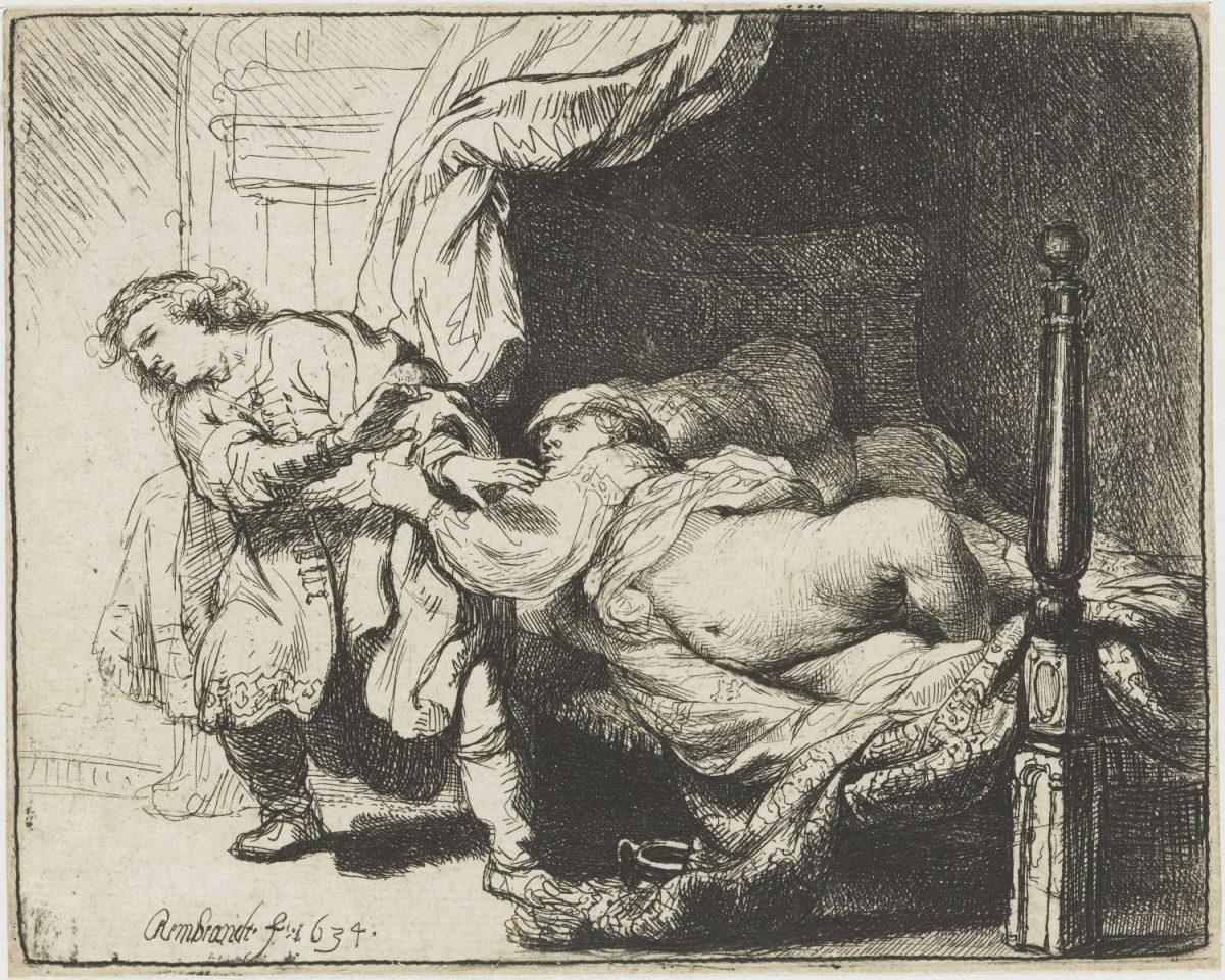 Rembrandt Joseph und Potiphar's Weib Radierung