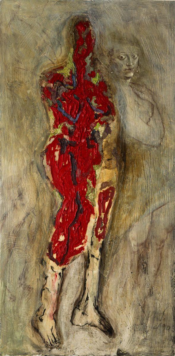 Variation Pelzchen V 1990 Öl. Kalkfarbe, Sepia und Kreide auf Leinwand