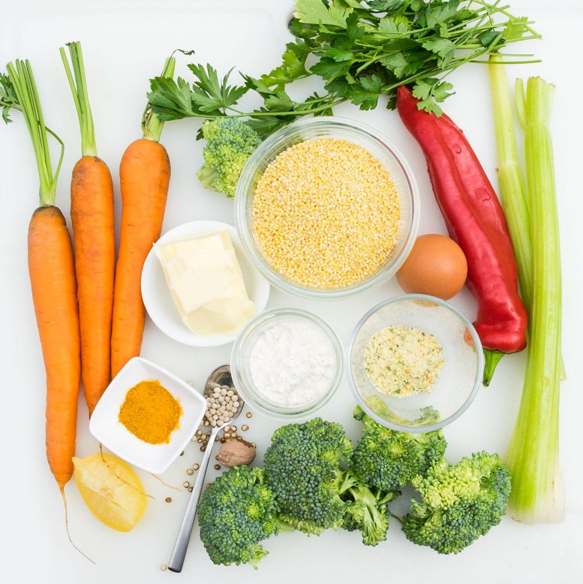 Zutaten für Hirsebratlinge mit Gemüse